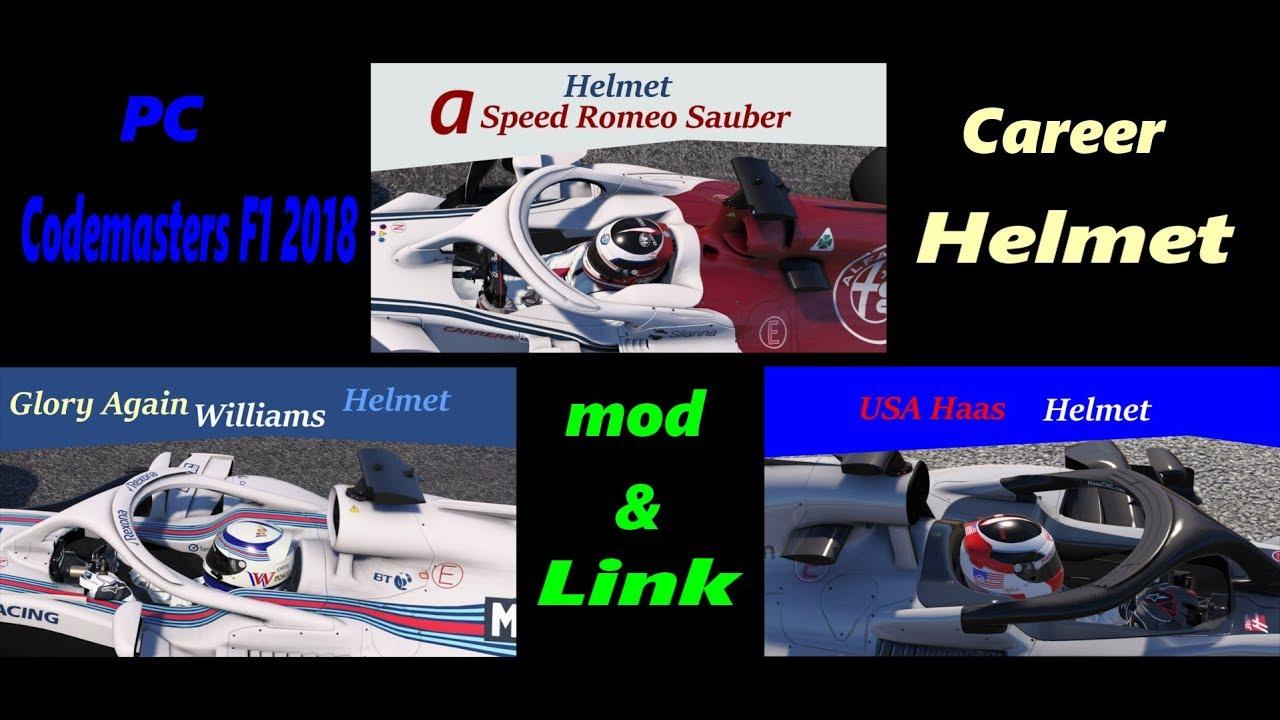 PC F1 2018 Carrer Helmet mod : Haas, Williams, Sauber
