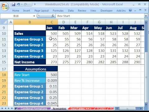 Highline Excel Class 22: Budgets, Scenarios & Scenarios Report