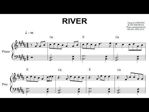 Ed Sheeran, Eminem - River (EASY piano sheet)