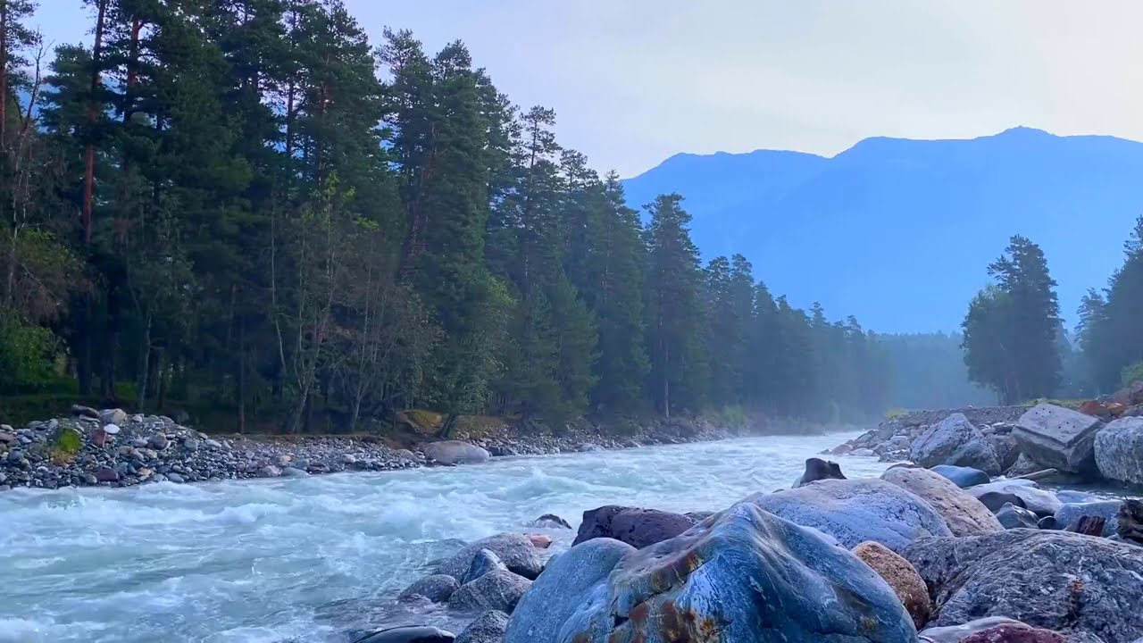 Calming Blue Mountain River. Relaxing Nature Sounds. (10 hours). White noise for sleep.