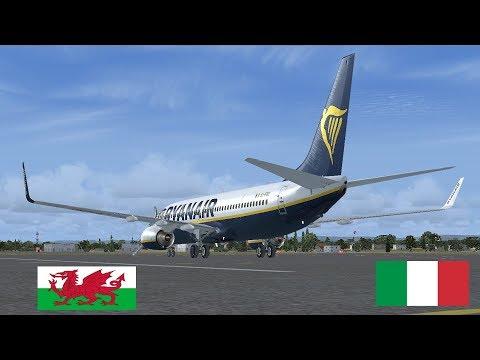 VRyanair PMDG 737-800 NGX   Dublin EIDW to Cardiff (Wales) & Naples (Italy)  ✈
