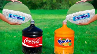 Experiment: Coca Cola & Fanta VS Giant Balloons of Mentos. Super Reaction!
