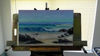 Seascape Oil Painting Using a Palette Paint Knive