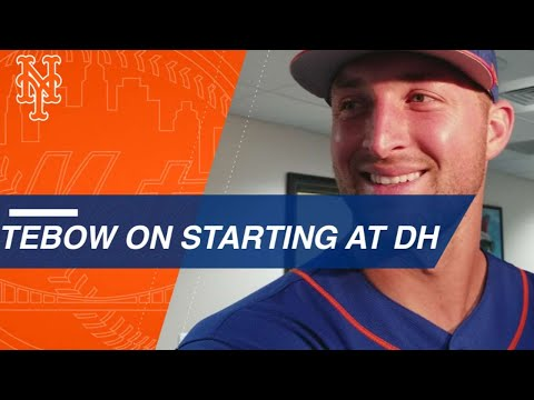 Tim Tebow singles, talks about his hit vs. the Nats