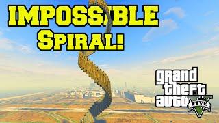 GTA 5 PC Mods - IMPOSSIBLE SPIRAL CLIMB STUNT! GTA 5 Ramp Mod & Stunt Funny Moments!