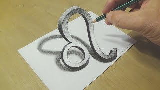 Zodiac Symbol - Drawing 3D Leo zodiac Icon - Trick Art with Pencils on Paper - VamosART