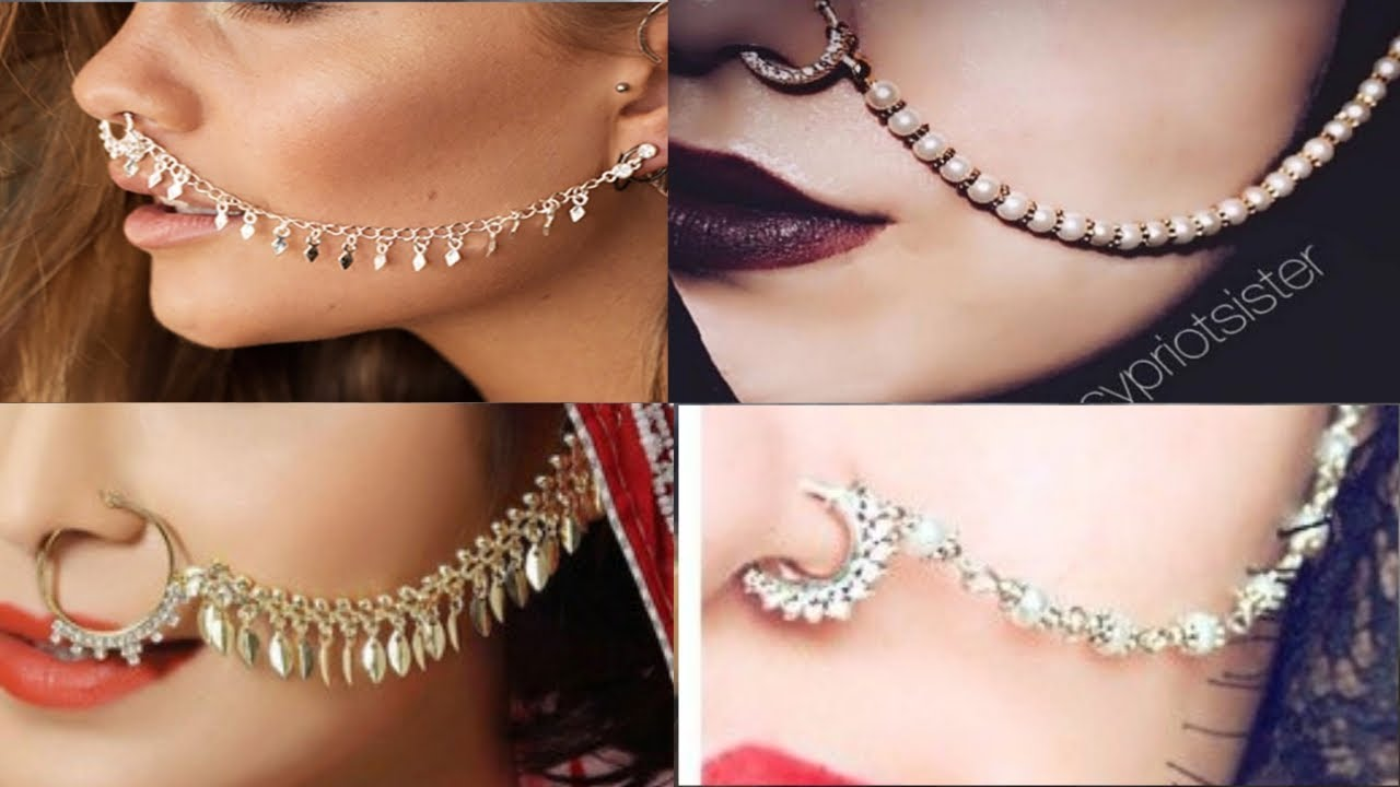 Latest Bridal Nose Pin Design With Chain 2019 Beautiful Nath Design Youtube