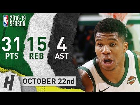 Giannis Antetokounmpo Full Highlights Bucks vs Knicks 2018.10.22 - 31 Pts, 14 Reb, 4 Ast!