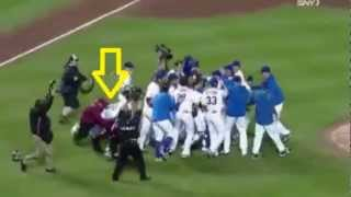 Field Crasher!! Fan rushes field during Johan Santana's No Hitter. Watch until end. Must See!!