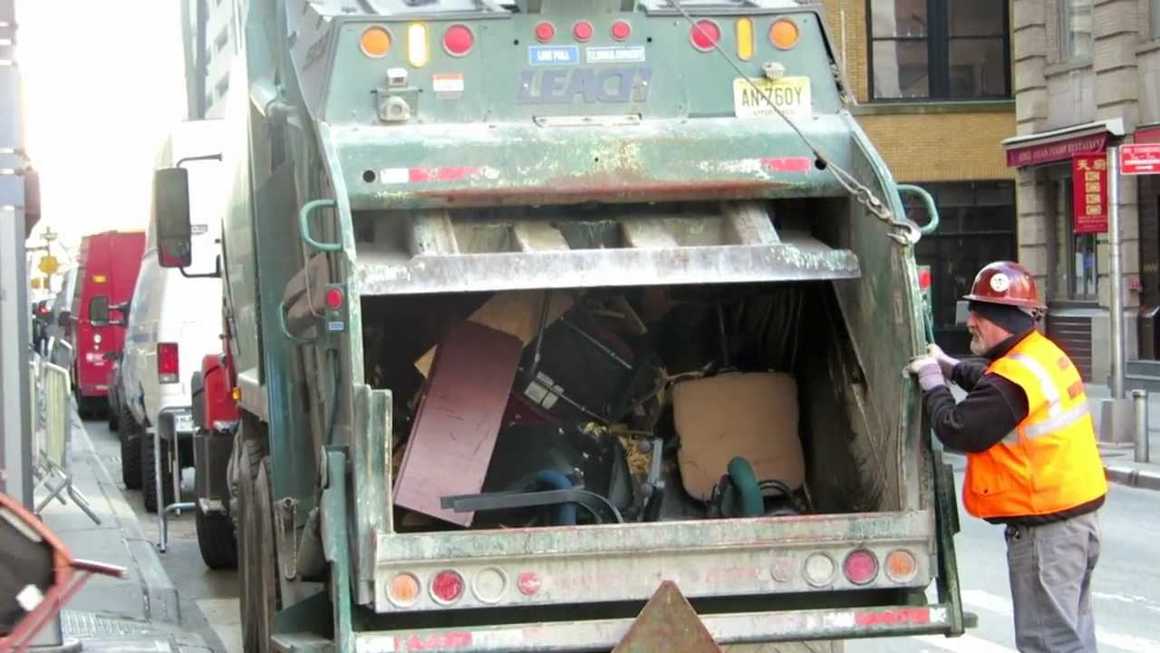 Rear Loading New York Garbage Truck Tossing Nice Trash