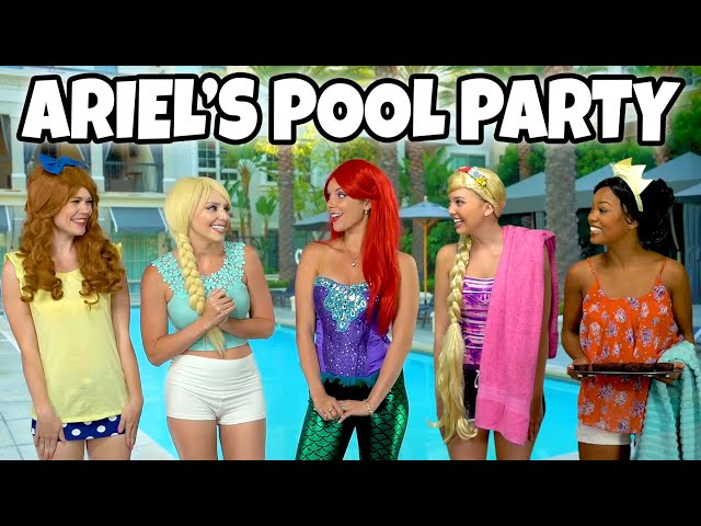 DISNEY PRINCESS POOL PARTY. What Goes Wrong when Ariel Hosts Tiana, Rapunzel, Belle and Elsa?