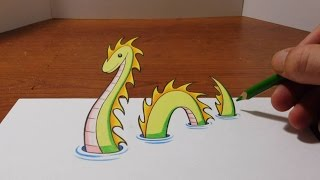 Drawing a 3D Loch Ness Monster - Trick Art Optical Illusion