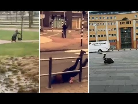 Deadly Winter Storm In The Netherlands 2018 people flying