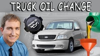 How to Change Oil; Ford F-150 Truck 1997 - 2003 Tenth Generation Pick-Up(A simple step-by-step DIY video demonstration of an at at home Ford truck oil change. Kistel describes how to locate the oil pan, remove the oil plug, drain the oil ..., 2014-01-15T01:49:50.000Z)