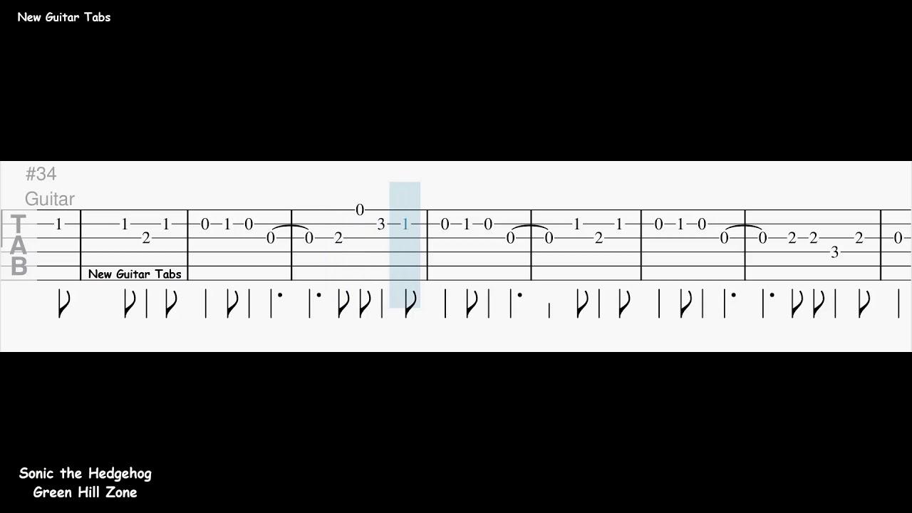 Sonic The Hedgehog Green Hill Zone Guitar Tab Youtube