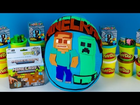 GIANT MINECRAFT Play Doh MYSTERY SURPRISE EGG with Blind Bags Mini Figures Toys Minecraft