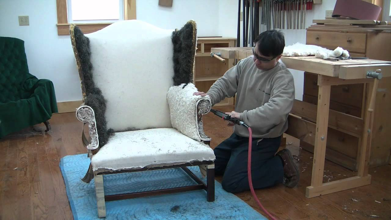 How To Reupholster A Wing Chair Chapter 14  YouTube
