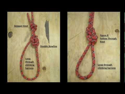 How to use the Double Bowline to tie in to a rock climbing harness