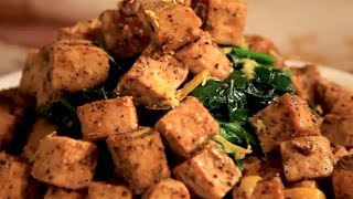 Lemon Pepper Tempeh On Garlic Spinach And Mashed Rutabaga On Save The Kales!