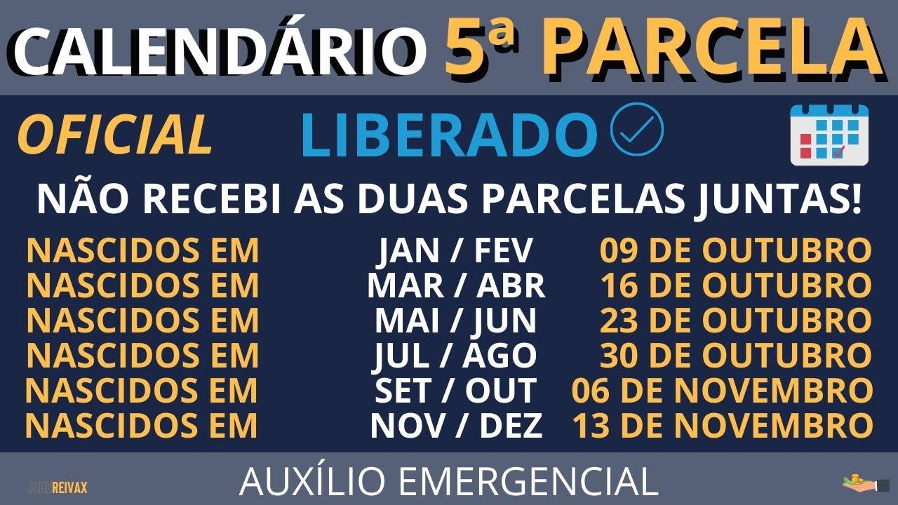 CALENDÁRIO da 5ª Parcela do Auxílio Emergencial LIBERADO! Veja as Datas do CICLO 3!