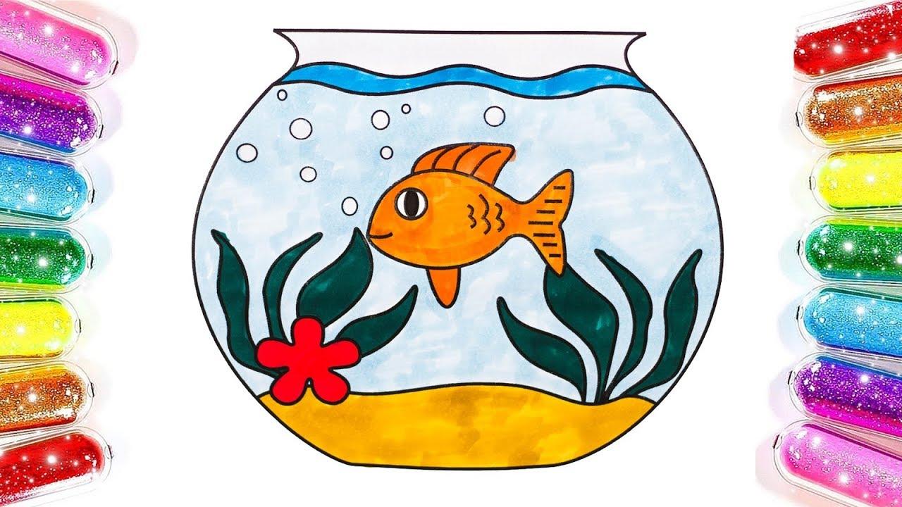 Fish Bowl Coloring & Drawing | Fish bowl Coloring Pages ...