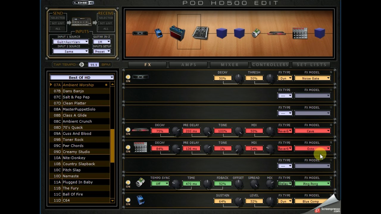 LINE 6 HD500 PATCH WORSHIP ESSENTIALS AMBIENT CHORDS