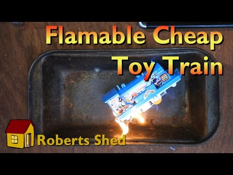 A look at a moderately dangerous, and flammable, knock off toy train set.
