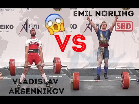 Emil Norling (SWE) Vs Vladislav Aksennikov (RUS) @ Men Jr, 105kg IPF World Classic Powerlifting 2019