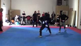 Military sabre tournament - FightCamp 2013 - Matt Easton (red) vs Jonathan Spouge (blue)