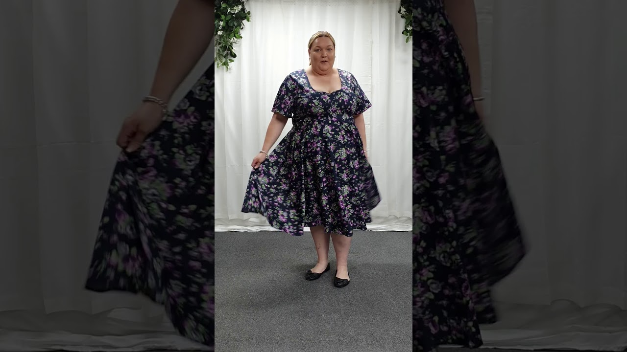 Plus Size Blue Purple Vintage Dress