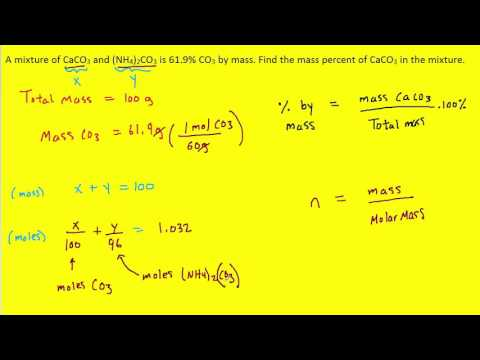 Find The Mass Percent Of CaCO3 In The Mixture.