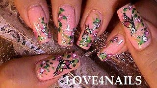 How To Paint A Butterfly In A Garden ƸӜƷ Nail Art Design Tutorial