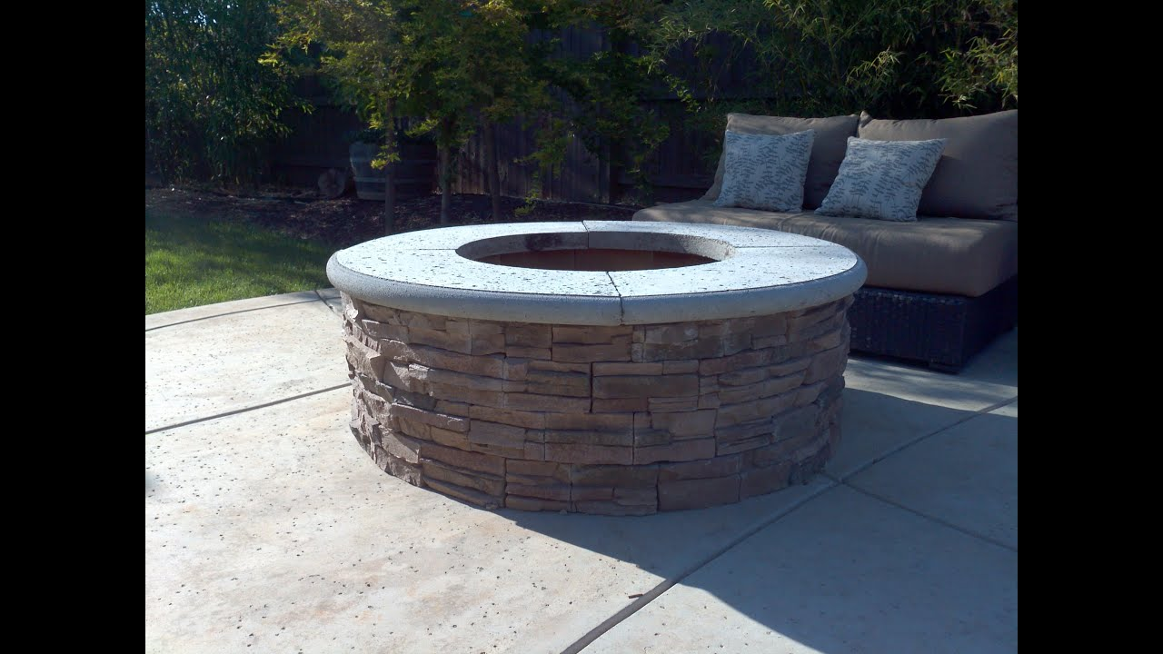 Awesome How To Build A Fire Pit With Stone Veneer Facing   DIY   Add A BBQ Grill    YouTube