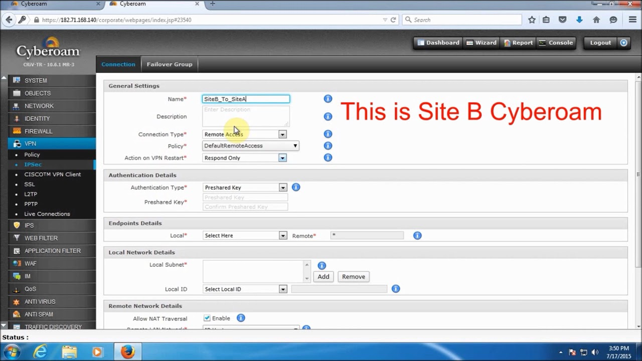 How to Create an IPsec site to site VPN configuration using RSA Key in  Cyberoam