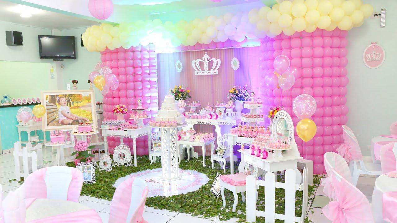 Aniversário Yasmin Decoraç u00e3o de Princesa Minana Fest YouTube -> Decoração De Aniversario Princesa Realeza
