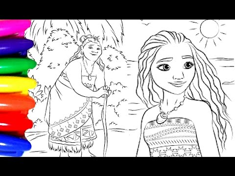 Disney Princess Of Pacific MOANA Coloring Book Pages For Children Kids Videos Learning Colors