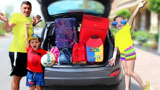 Kids Suitcases story in the car