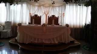 Оформление свадьбы тканями и цветами в королеве,оформление ресторана в ресторане Каспий