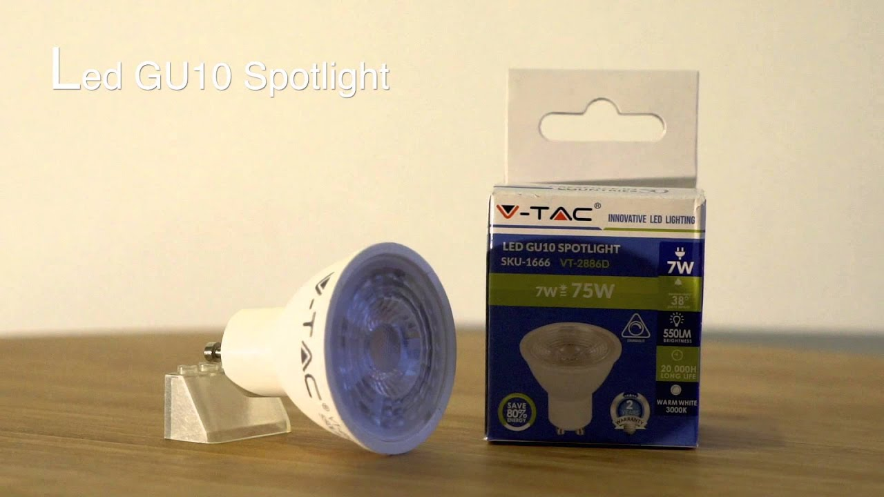 ampoule led gu10 7w vtac dimmable 38 youtube. Black Bedroom Furniture Sets. Home Design Ideas