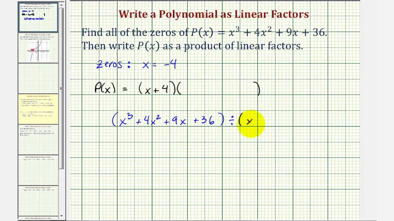 Ex 1: Write A Degree 3 Polynomial Function As A Product Of Linear Factors  (2 Imaginary)