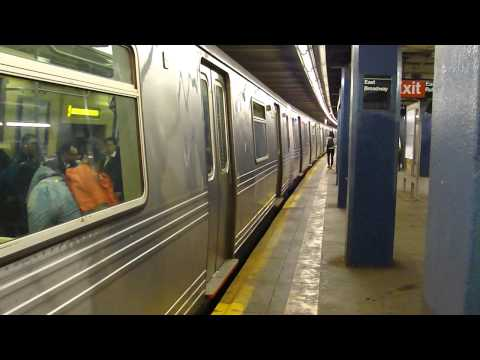 IND 6th Ave Line: R46 A Train at East Broadway (Brooklyn Bound-Weekend)