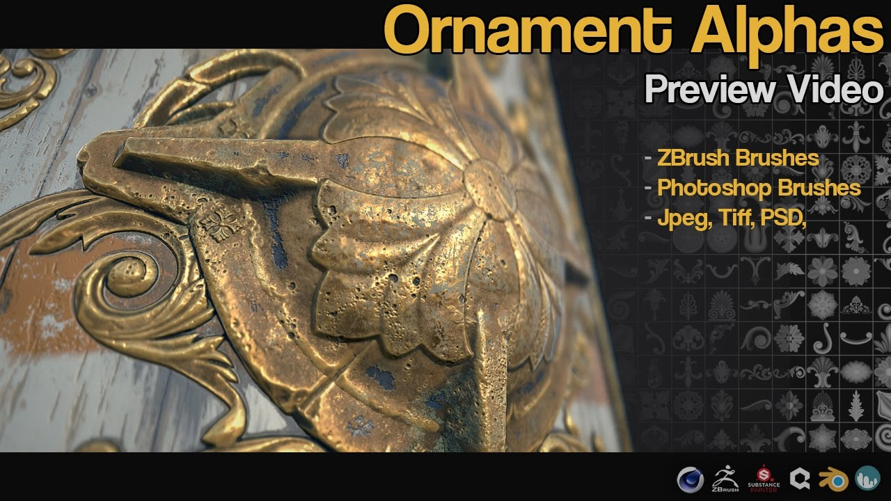 55 Ornament ZBrush Brushes and alphas