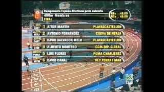 David Canal Record de España Absoluto en Pista Cubierta 400.