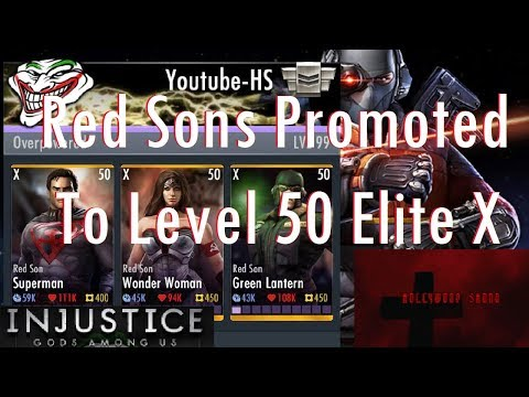 Injustice Gods Among Us iOS - Red Sons Green Lantern, Wonder Woman, Superman Promoted to Level 50 El