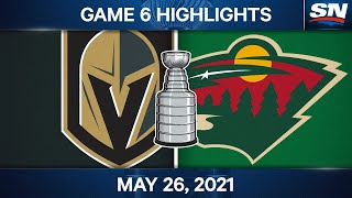 NHL Game Highlights   Golden Knights Vs. Wild, Game 6 - May 26, 2021