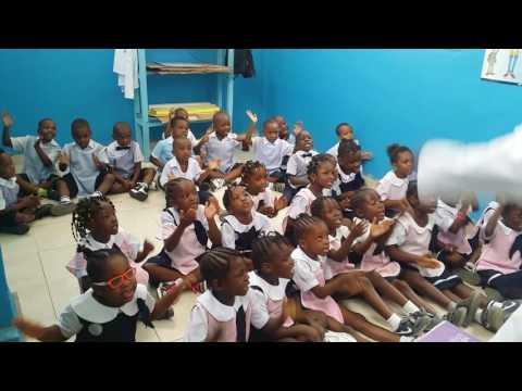 Alphabet lesson in the kindergaten at Saint Damien school Kinshasa by Mister Kelly KALONJI