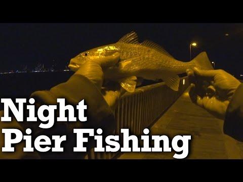 Beginner Pier Fishing at Night! - Saltwater Pier Fishing