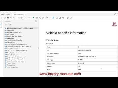 Seat Ibiza 2002 2003 2004 2005 2006 2007 2008 2009 factory