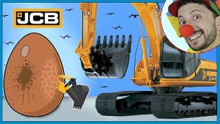Funny Clown Bob | Construction vehicles Excavator Backhoe Digger Surprise Egg Video for kids