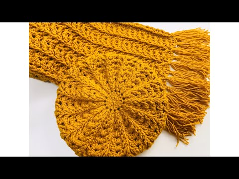 EASY CROCHET HAT AND CROCHET SCARF SET FOR ADULTS, BERET HAT, MENS SCARF, CROCHET FERN STITCH